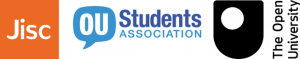 logos for Jisc, OU students association and The Open University